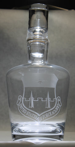 Crystal Whiskey Liquor Wine Decanter round tapered Custom Engraved USAFA USCGA graduation commencement - Samstagsandmore