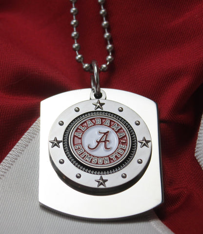 ALABAMA  UNIVERSITY LOGO  X LARGE  DOG TAG STAINLESS STEEL NECKLACE STARS - Samstagsandmore