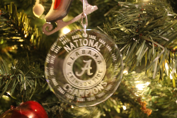 Alabama Crimson Tide National Champions 2020 18 All Years Crystal Ornament - Samstagsandmore