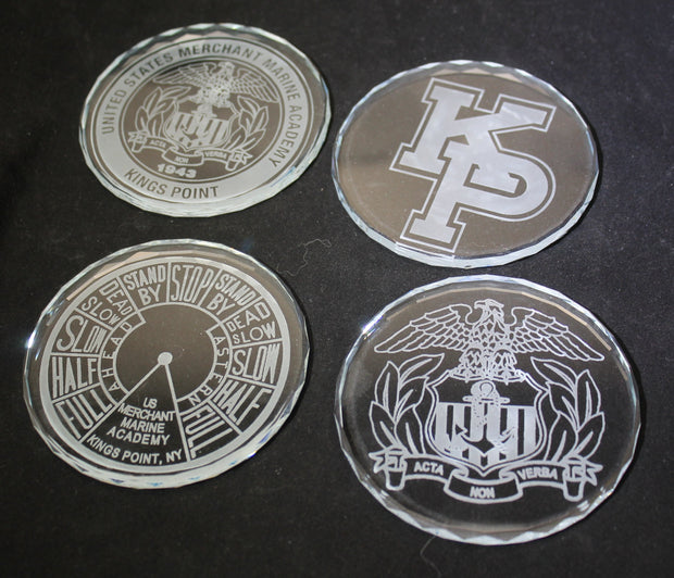 USAFA Custom K9 Faceted Edge Sand Carved Crystal Coasters in Wood Base with Brass Plate - FOUR designs - Samstagsandmore