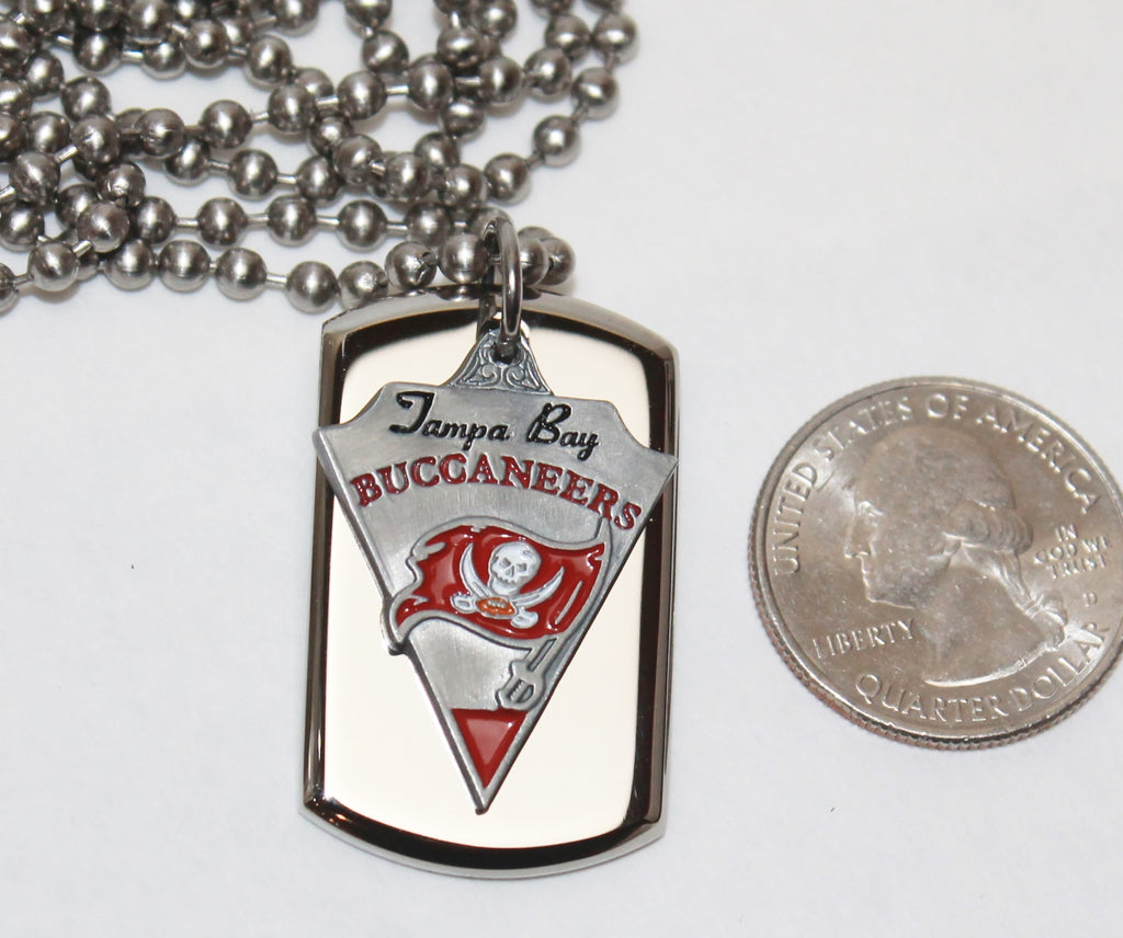 Tampa Bay Buccaneers Bucs NFL  STAINLESS STEEL DOG TAG NECKLACE  3D BALL CHAIN - Samstagsandmore