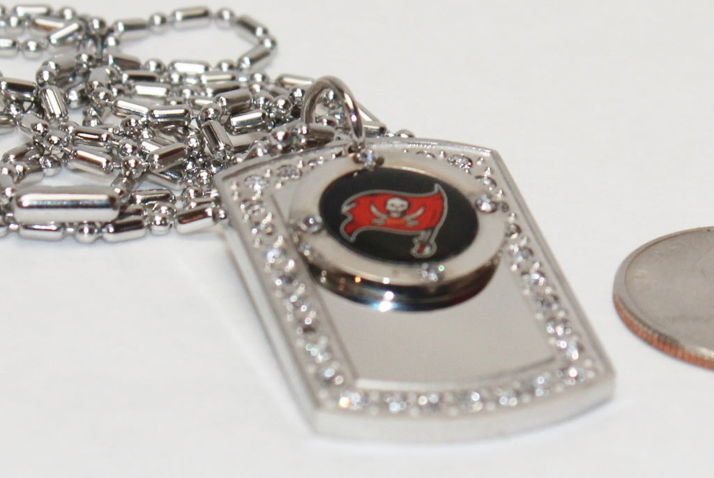Tampa Bay Buccaneers Bucs BLING NECKLACE PENDANT CZ STAINLESS DOG TAG - Samstagsandmore