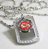 KANSAS CITY CHIEFS NFL BLING ICED OUT NECKLACE PENDANT CZ STAINLESS DOG TAG