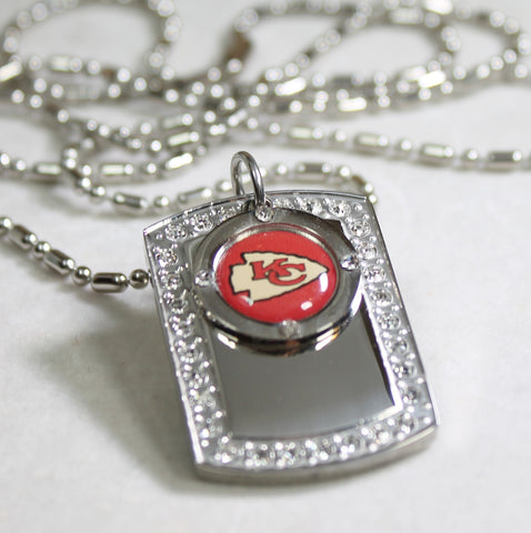 KANSAS CITY CHIEFS NFL BLING ICED OUT NECKLACE PENDANT CZ STAINLESS DOG TAG - Samstagsandmore