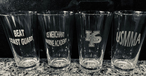 Usmma Merchant Marine Academy- Set of 4 - 16oz Pint Drink Glasses Custom Sand Carved USNA USAFA USMA USCGA graduation commencement