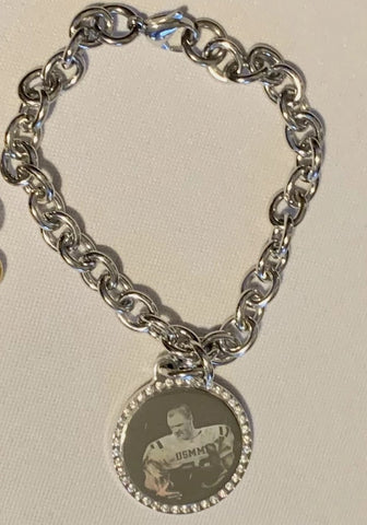 CUSTOM ENGRAVED CZ BLING SILVER TONE STAINLESS STEEL ROUND WITH TOGGLE CHAIN BRACELET