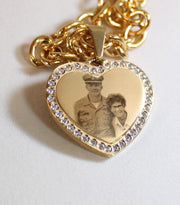 Photo Picture Text Custom Engraved CZ Bling Gold IPG Stainless Steel Heart With Oval Link Chain USMMA - Samstagsandmore