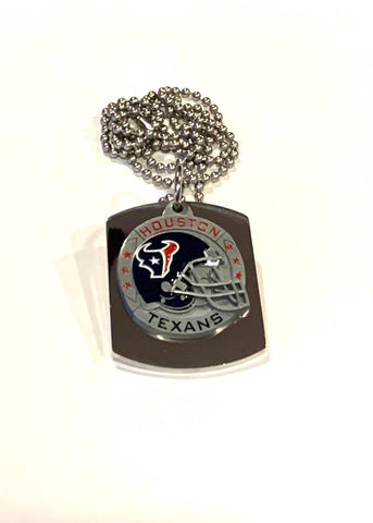 HOUSTON TEXANS  X LARGE PENDANT ON THICK STAINLESS STEEL DOG TAG
