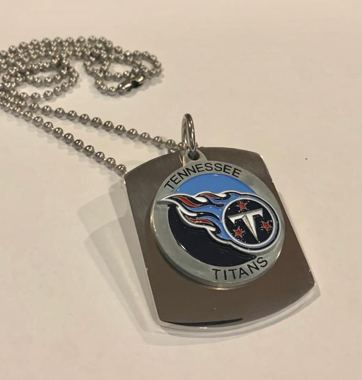 TENNESSEE TITANS X LARGE PENDANT ON THICK STAINLESS STEEL DOG TAG - Samstagsandmore