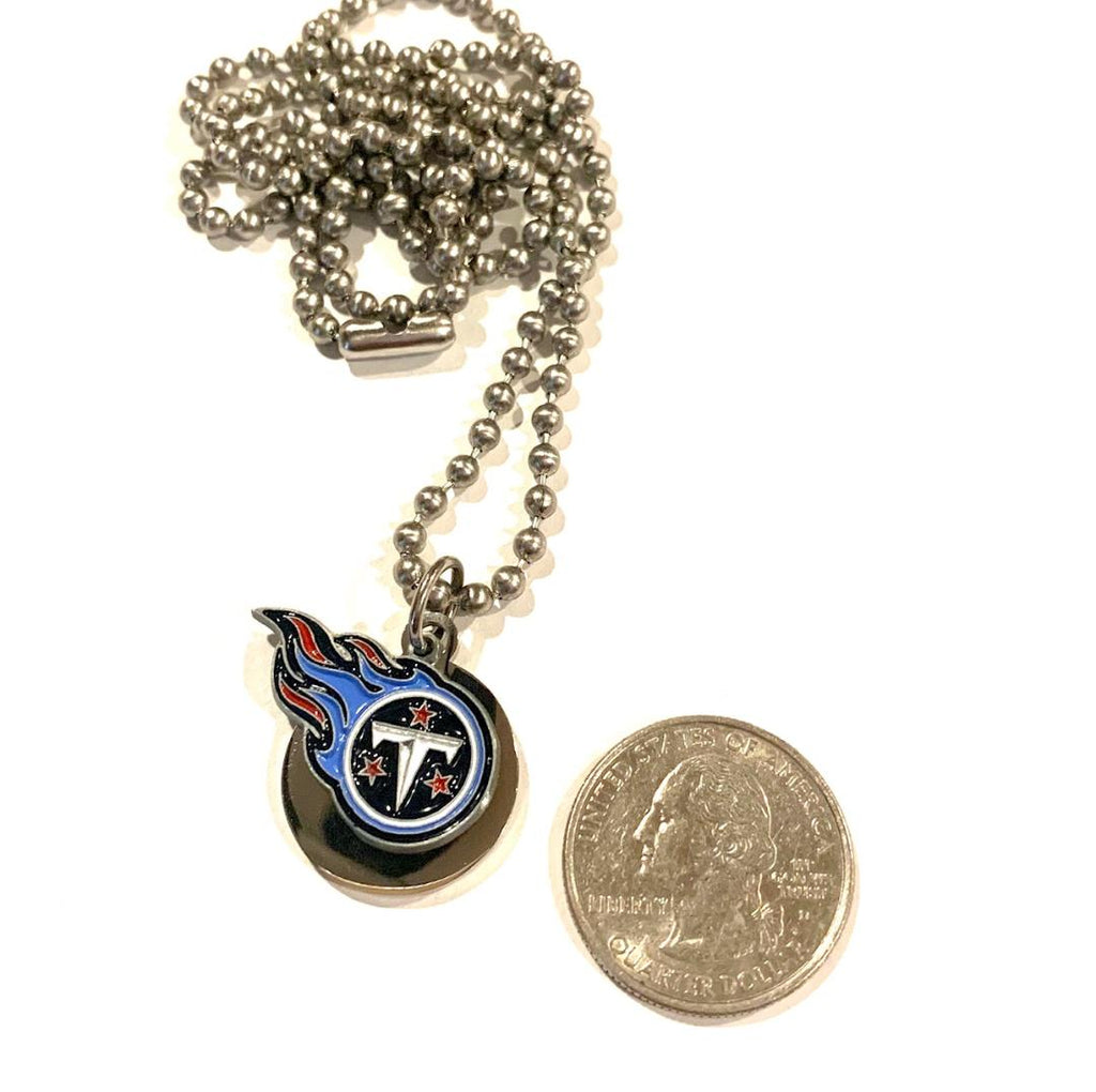 TENNESSEE TITANS ROUND SMALL NFL  STAINLESS STEEL DOG TAG NECKLACE   BALL CHAIN PENDANT - Samstagsandmore