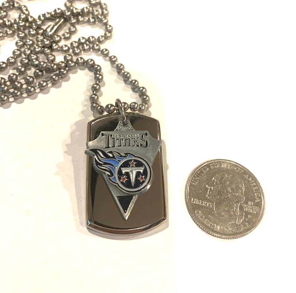 TENNESSEE TITANS NFL  STAINLESS STEEL DOG TAG NECKLACE  3D BALL CHAIN PENDANT - Samstagsandmore