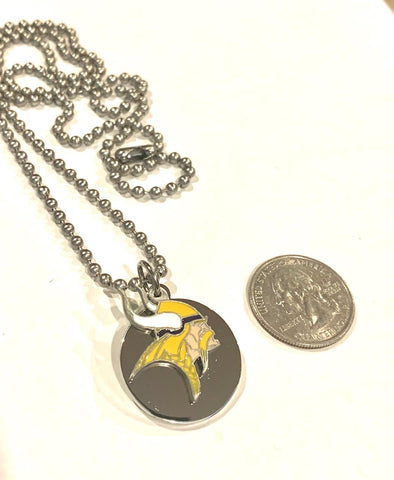MINNESOTA VIKINGS ROUND MEDIUM NFL  STAINLESS STEEL DOG TAG NECKLACE   BALL CHAIN PENDANT