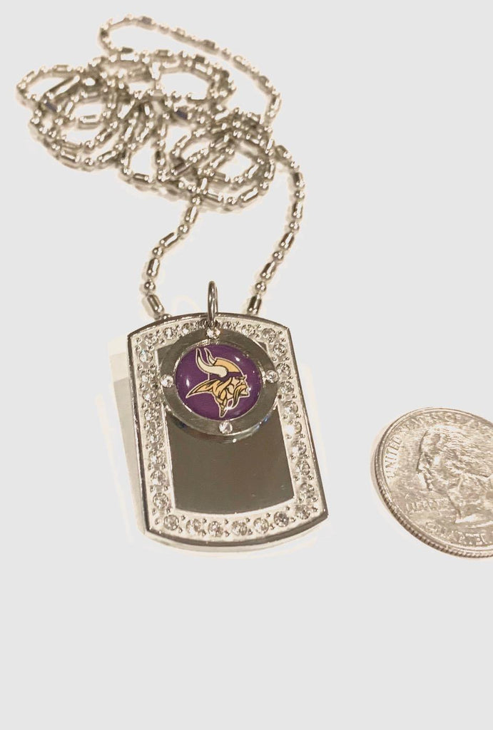 MINNESOTA VIKINGS BLING ICED OUT NECKLACE PENDANT CZ STAINLESS DOG TAG