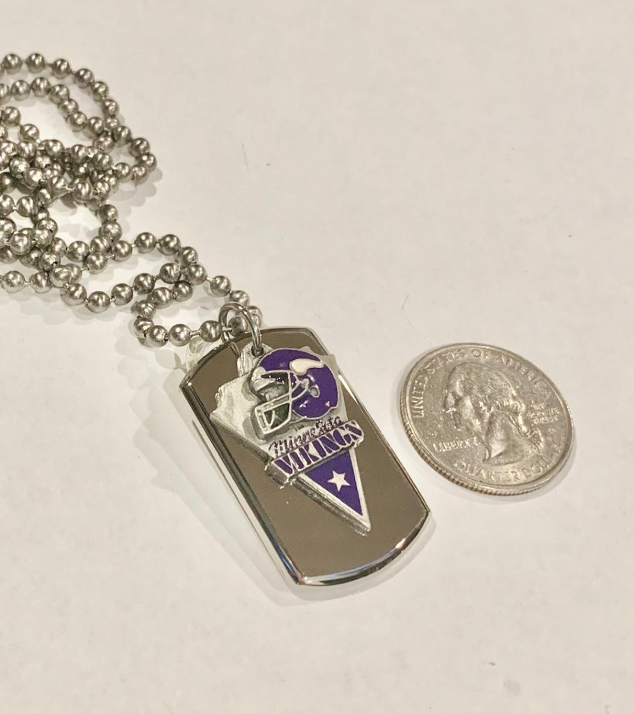 MINNESOTA VIKING STAINLESS STEEL DOG TAG NECKLACE  3D BALL CHAIN