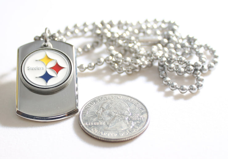 PITTSBURGH STEELERS NFL  STAINLESS STEEL DOG TAG NECKLACE  3D BALL CHAIN - Samstagsandmore