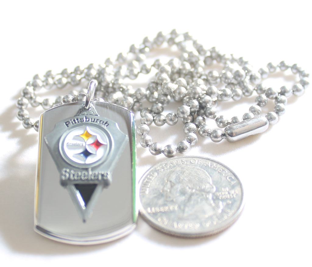 PITTSBURGH STEELERS NFL  STAINLESS STEEL DOG TAG NECKLACE  3D BALL CHAIN