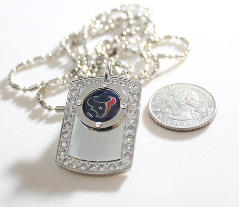 HOUSTON TEXANS BLING ICED OUT NECKLACE PENDANT CZ STAINLESS DOG TAG