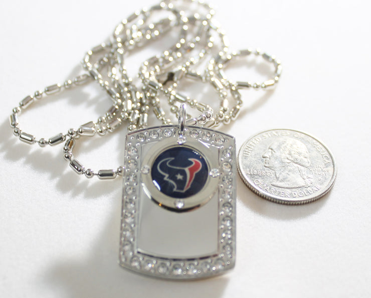 HOUSTON TEXANS BLING NECKLACE PENDANT CZ STAINLESS DOG TAG - Samstagsandmore