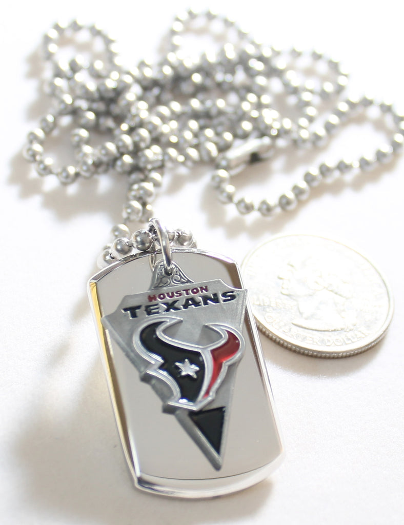 HOUSTON TEXANS NFL  STAINLESS STEEL DOG TAG NECKLACE  3D BALL CHAIN - Samstagsandmore