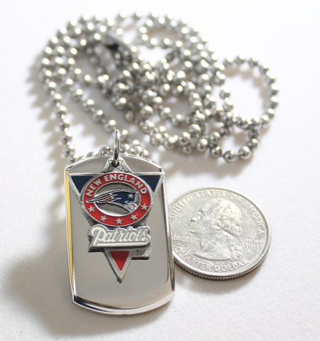 NEW ENGLAND PATRIOTS NFL  STAINLESS STEEL DOG TAG NECKLACE  3D BALL CHAIN - Samstagsandmore