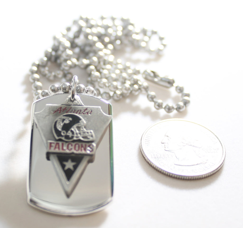 ATLANTA FALCONS NFL  STAINLESS STEEL DOG TAG NECKLACE  3D BALL CHAIN PENDANT
