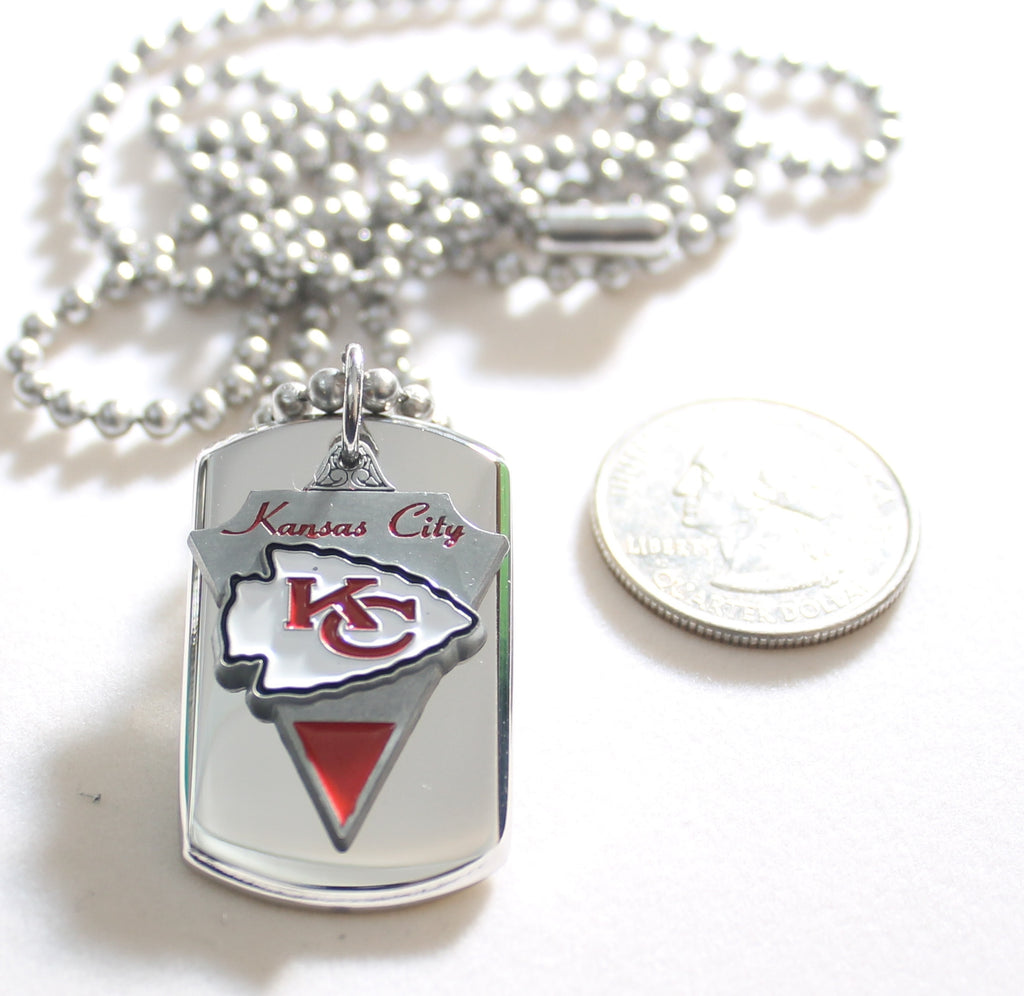 KANSAS CITY CHIEFS NFL  STAINLESS STEEL DOG TAG NECKLACE  3D BALL CHAIN - Samstagsandmore