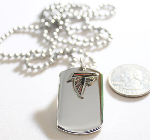 ATLANTA FALCONS NFL 3D STAINLESS STEEL DOG TAG NECKLACE  3D BALL CHAIN