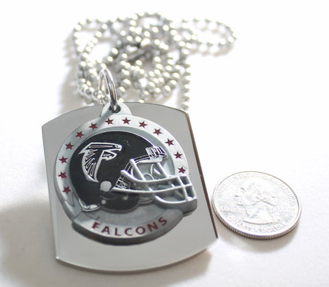 ATLANTA FALCONS  X LARGE PENDANT/HELMET ON THICK STAINLESS STEEL DOG TAG NECKLACE