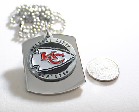 KANSAS CITY CHIEFS NFL X LARGE PENDANT ON THICK STAINLESS STEEL DOG TAG
