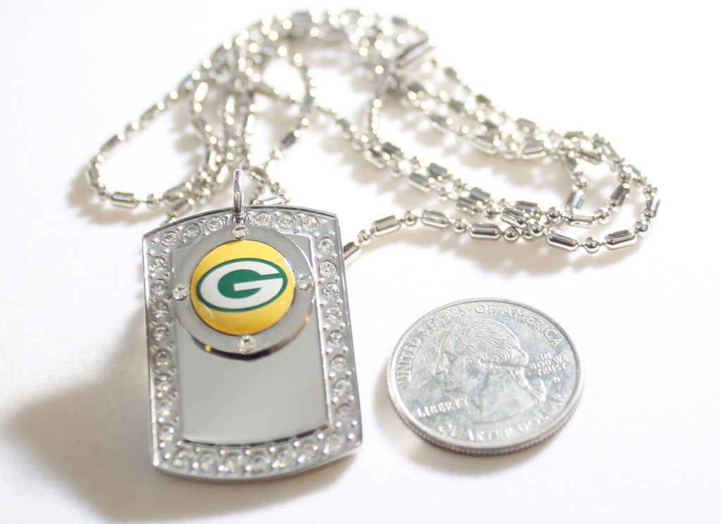 GREEN BAY PACKERS BLING ICED OUT NECKLACE PENDANT CZ STAINLESS DOG TAG