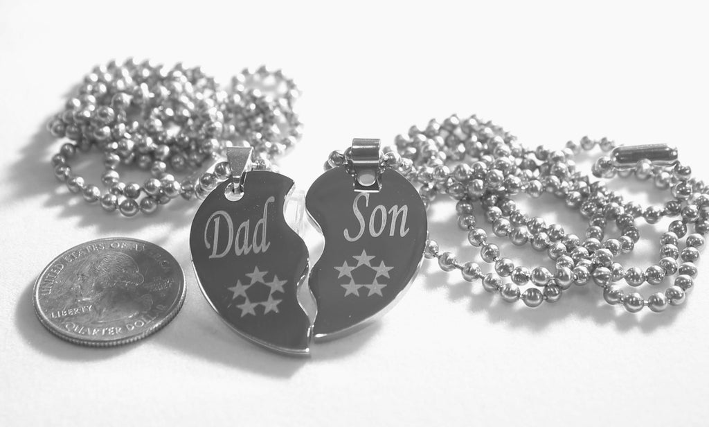 SOLID STAINLESS STEEL DAD  SON SMALL  SPLIT HEART NECKLACES LOVE FRIENDSHIP - Samstagsandmore