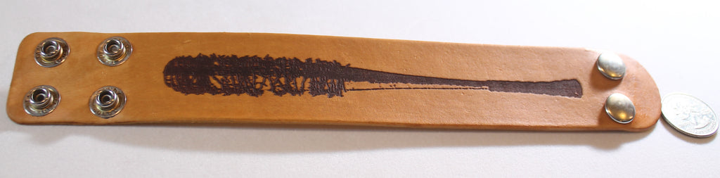 BASEBALL BAT, BARBED WIRE, NEGAN, WALKING DEAD LIKE LASER ENGRAVED STAINED LEATHER BRACELET ADJUSTABLE