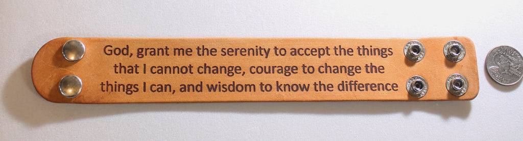 SERENITY PRAYER LASER ENGRAVED LEATHER BRACELET ADJUSTABLE