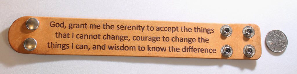 SERENITY PRAYER LASER ENGRAVED STAINED LEATHER BRACELET ADJUSTABLE