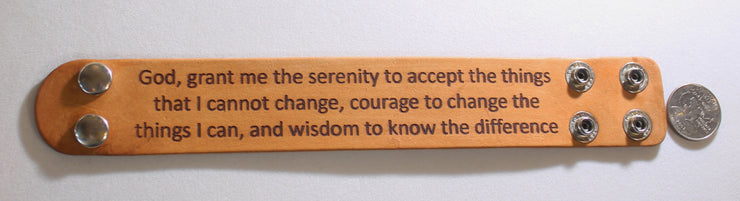 SERENITY PRAYER LASER ENGRAVED WIDE LEATHER BRACELET ADJUSTABLE - Samstagsandmore