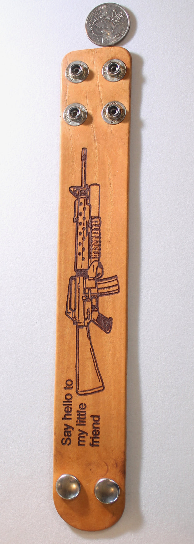 AR15, M16, M4, assault rifle, military laser engraved stained leather bracelet adjustable - Samstagsandmore