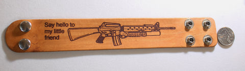 AR15, M16, M4, ASSAULT RIFLE, MILITARY LASER ENGRAVED STAINED LEATHER BRACELET ADJUSTABLE