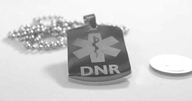 MEDICAL ALERT  DNR THICK SILVER  STAINLESS STEEL  DOG TAG NECKLACE FREE  ENGRAVING - Samstagsandmore