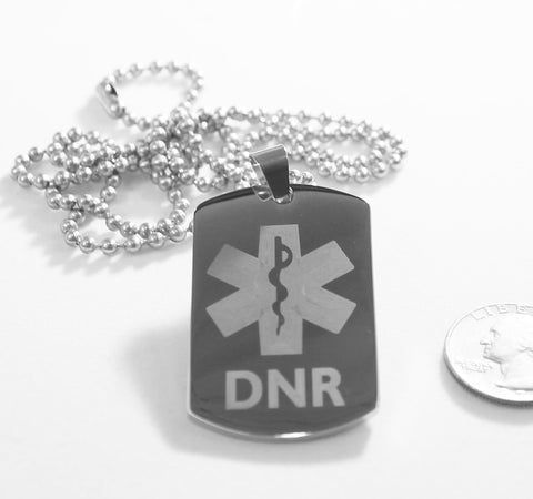 MEDICAL ALERT  DNR THICK SILVER  STAINLESS STEEL  DOG TAG NECKLACE FREE  ENGRAVING