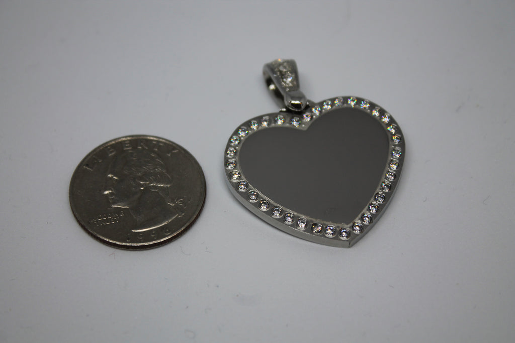 CZ STAINLESS STEEL HEART BLING BAIL NO CHAIN