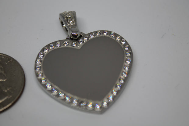 CZ STAINLESS STEEL HEART BLING BAIL NO CHAIN - Samstagsandmore