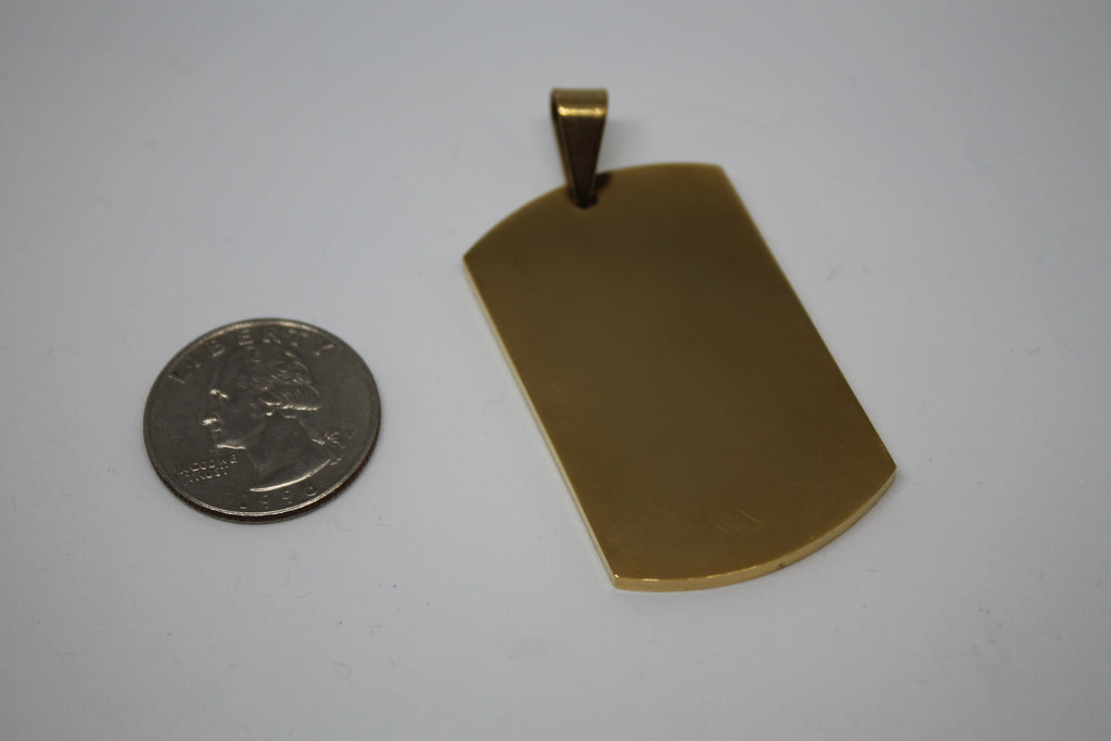 CUSTOM ENGRAVE SOLID STAINLESS STEEL GOLD IPG THICK DOG TAG NO CHAIN - Samstagsandmore