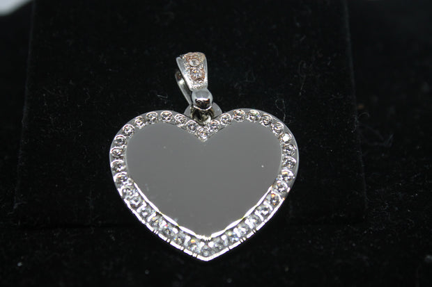 STAINLESS STEEL CZ BLING HEART AND BALE ROLO CHAIN - Samstagsandmore