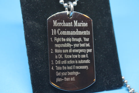 USMMA US MERCHANT MARINE TEN 10 COMMANDMENTS THICK STAINLESS STEEL DOG TAG