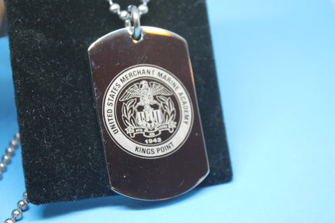 USMMA US MERCHANT MARINE ACADEMY ROUND LOGO THICK STAINLESS STEEL DOG TAG