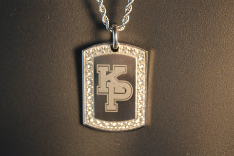 USMMA MERCHANT MARINE ACADEMY KP BLING ICED OUT  NECKLACE PENDANT CZ STAINLESS DOG TAG