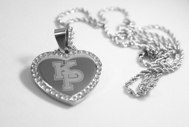 CZ BLING SOLID STAINLESS STEEL HEART USMMA KP FREE ENGRAVE ROPE CHAIN - Samstagsandmore