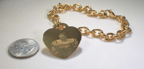 CUSTOM ENGRAVED TIFFANY STYLE GOLD IPG STAINLESS STEEL HEART WITH TOGGLE CHAIN BRACELET