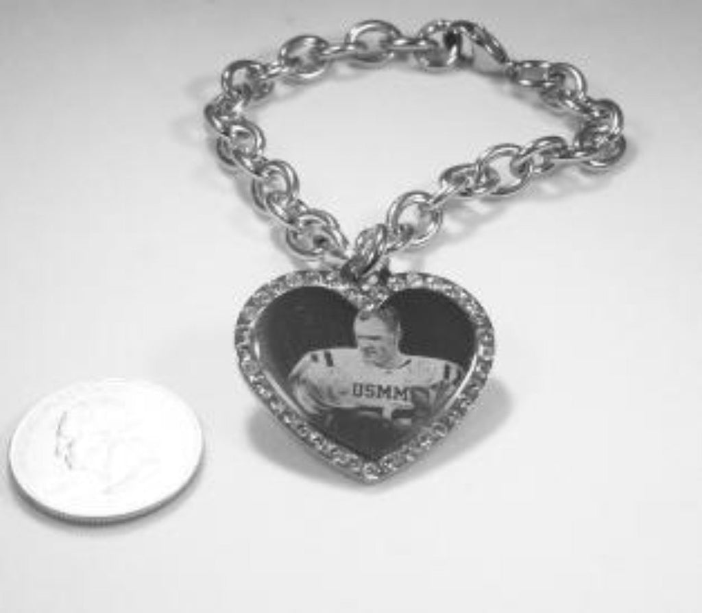 Custom Engraved CZ Bling Silver Tone Stainless Steel Heart With Oval Link Chain Bracelet up to 5 Charms