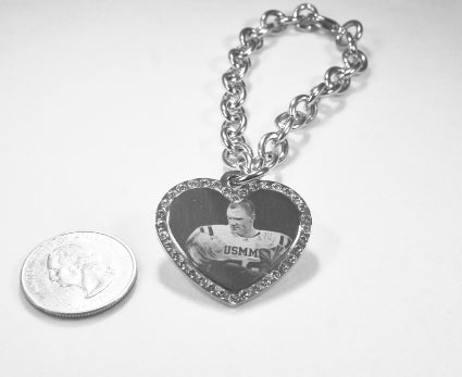 Custom Engraved CZ Bling Silver Tone Stainless Steel Heart With Oval Link Chain Bracelet up to 5 Charms - Samstagsandmore